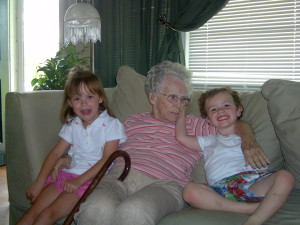 One of the first Sunday Dinners at my home. Grandmother with two of her great-grandchildren.